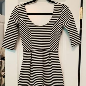 Maison Jules Black White Striped Dress Size Small